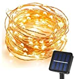 Solar Starry String Light, CMYK 10M/33FT 120 LEDs Outdoor Solar Powered LED String Lights Waterproof Copper Wire Lights for Garden, Party, Homes, Wedding