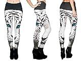 Alsino Print Leggings Damen Bedruckt Sexy Leggins Ladies mit Motiv Stretch Legins Hose, Variante wählen:LEG-009 weißer Tiger
