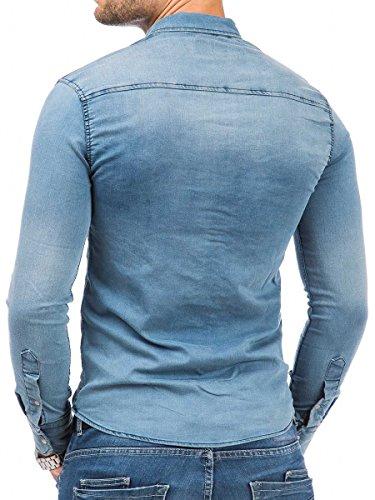 Tazzio Herren Jeans Hemd Denim Jeanshemd Hemden Herrenhemd Langarm Shirt Blau 16-316