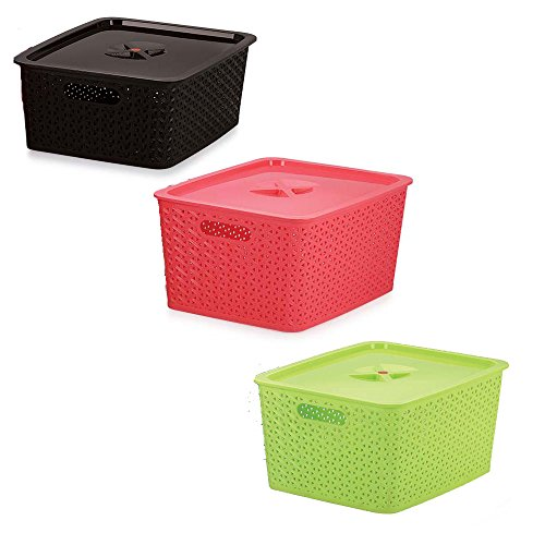 MustHaves ™ 3 Sizes - Medium, Big & Large Basket for Multipurpose Uses - Home, Kitchen & Office with lid (color may be vary)