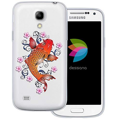 dessana Japan Transparente Schutzhülle Handy Case Cover Tasche für Samsung Galaxy S4 Mini Japan Koi Karpfen