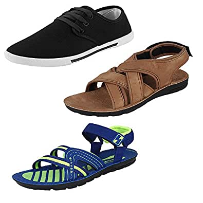 Earton Men Combo Pack of 3 Casual Shoes With Sandals (10 UK)