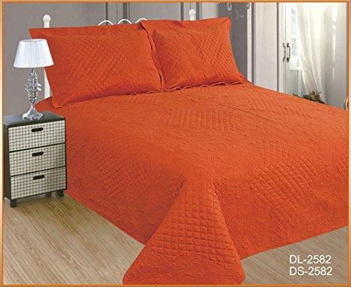 ForenTex- Colcha Boutí Cosida, (DL-2582), cama 150 cm, 240 x 260 cm, Naranja, +2 cojines, colcha barata, set de cama, ropa de cama. Por cada 2 colchas o mantas paga solo un envío (o colcha y manta), descuento equivalente antes de finalizar la compra.