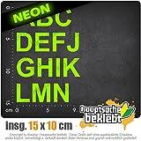 ABC selbst kleben Set 1 A-N 10 x 15 cm IN 15 FARBEN - Neon + Chrom! Sticker Aufkleber