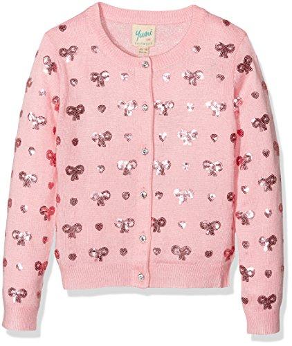 Yumi Heart and Bow, Cardigan Bambina, Pink (Dusty Pink), 13-14 Anni