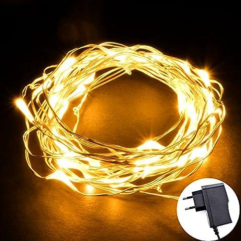 ONEU 10 Mètres 220V 100er Eclairage LED Lumineux Etoilée Fil