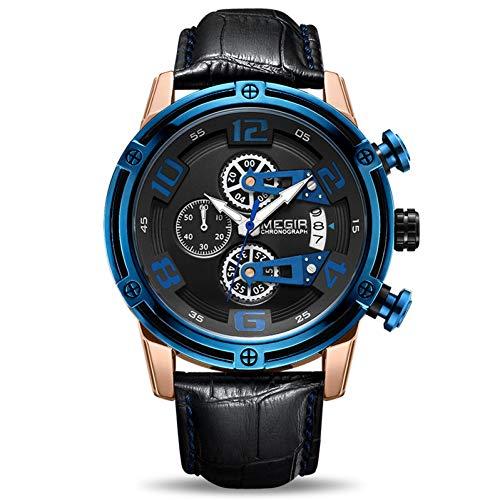 SBDONGJX Chronographe Montre De Sport Hommes Bracelet en Cuir Créatif Montres À Quartz Horloge Hommes Montre-Bracelet Militaire Reloj Hombre Montre Homme