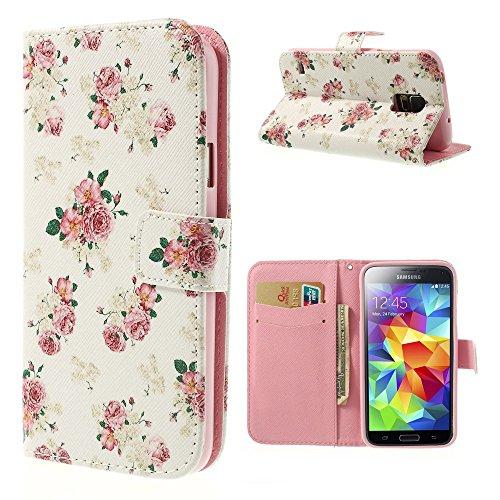 NALIA Klapphülle kompatibel mit Samsung Galaxy S5 S5 Neo, Hülle Slim Flip-Case Kunst-Leder Vegan Phone Etui Schutzhülle Book-Case, Dünne Vorne Hinten Handy-Tasche Wallet Bumper - Pretty Roses Edition