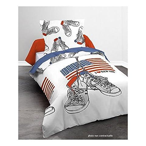 Parure Housse de couette 140X200 cm Basket New-York