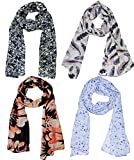 #2: Weavers Villa Set Combo of 4 Summer Scarves Soft PolyCotton Women's Scarf, Stoles