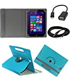 ECellStreet TM PU Leather Rotating 360° Flip Case Cover With Tablet Stand For Apple Ipad Mini 4 - Light Blue + Free Aux Cable + Free OTG Cable