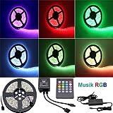 Besdata 5m 500CM RGB 5050 300 SMD LED Strip Leiste Streifen (60 Stk./m) + 20 Key Musik Fernbedienung + Controller + Netzteil 12V 6A 72W - Wasserdicht - Blitzend nach Takt der Musik (5050, Musik-RGB)- PL709A_MC_EU