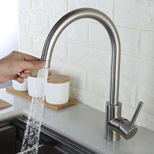 Homelody Küchenarmatur 360° drehbar Wasserhahn Armatur Einhebelmischer Mischbatterie Waschbecken Edelstahl Spüle für Küche (Edelstahl Küchenarmaturen)