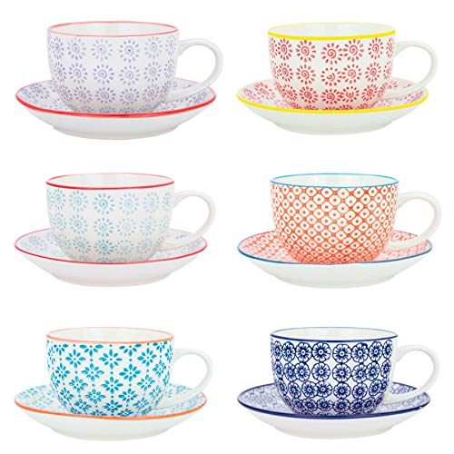 Nicola Spring Patterned Porcelain Cappuccino Cups and Saucers - 6 Individual Designs, 250ml - Set of 6