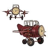 Clayre & Eef 6Y1477 Modellflugzeug Flugzeug rot Modell Uhr ca. 26 x 17 x 15 cm ABBILDUNG: FRONT- & SEITENANSICHT