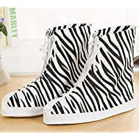 GROPC Shoes Cover,Unisex Shoes Cover Reusable Zebra Leopard Anti-Slip Thick Waterproof Protector Rain Overshoes High-Top Shoe Protectors