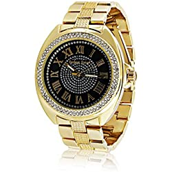 Techno Trend Men's Extra Large Gold Plated Round Clear Iced Out Face Heavy Hip Hop Bling Watch