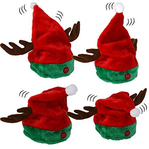 Weihnachtsmütze Rentier-Geweih tanzend mit Musik - Rentiermütze Elchmütze...