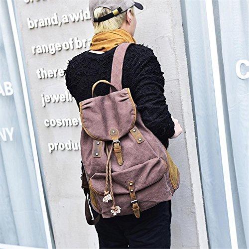 OOLIFENG Retro di tela gli uomini e le donne di cuoio zaino borsa da viaggio degli studenti , blue Brown