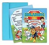 Marken los Paw Patrol Geburtstag einladung, 8 Stück geburtstagseinladungskarten inklusive Umschlägen, 16 teilige (8 Einladungen und 8 Umschlägen) Einladungskarten Geburtstag Kinder / Kindergeburtstag