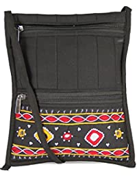 Womens Cottage Handmade Black Cotton Big Patch Work Side Purse For Womens/Girls