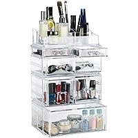 Relaxdays 10023149 Organizzatore Make-Up 7 Cassetti, Contenitore per Cosmetici e Trucchi, Acrilico, 14 x 23.5 x 38 cm