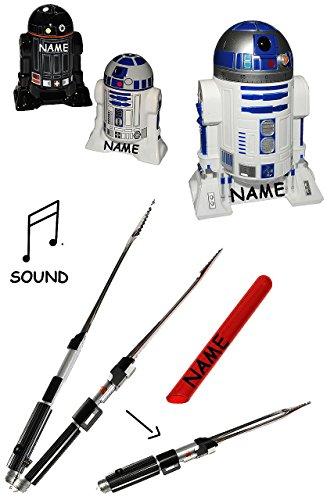 Unbekannt Set: Star Wars - Grillzange + Kurzzeitwecker + Salz & Pfefferstreuer - incl. Name - zum Grillen - Laserschwert Darth Vader - Garten / Droide Starwars - Clone ..