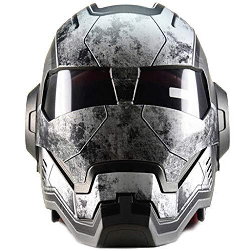 wthfwm Casco Marvel Motocross Casco Iron Man Mountain Bike off Road Casco Integrale da Casco,Grey-L