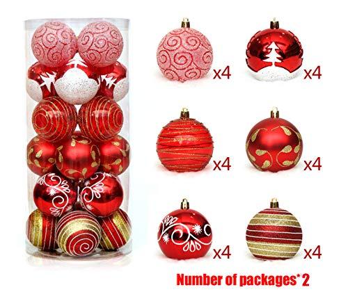DUBAOBAO Weihnachtskugeln 48 Stück Splitterfester Weihnachtskugel-Schmuckset, 6 cm Dekorative Kugeln Anhänger Und Wiederverwendbar, Rot/Blau/Gold,Red