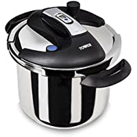 Tower T90103 Pro One Touch Pressure Cooker, 6 Litre, Stainless Steel