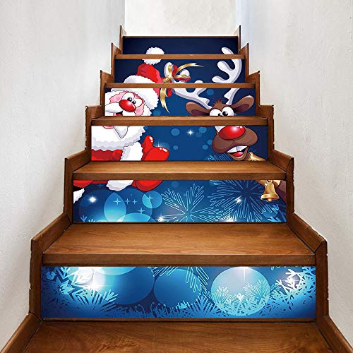 Amphia - Weihnachten 3D Simulation Treppe Aufkleber Wasserdichte Wandaufkleber DIY Home Decor,Weihnachtstreppe Wandaufkleber 18 * 100cm / 6St