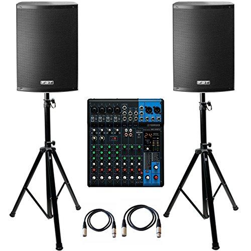 Lautsprecher Fbt (Anlage Audio 2000Watt FBT X-Lite 10A Paar Lautsprecher + Mixer Yamaha MG10X U + Halterungen + Kabel ideal für Live DJ Karaoke)