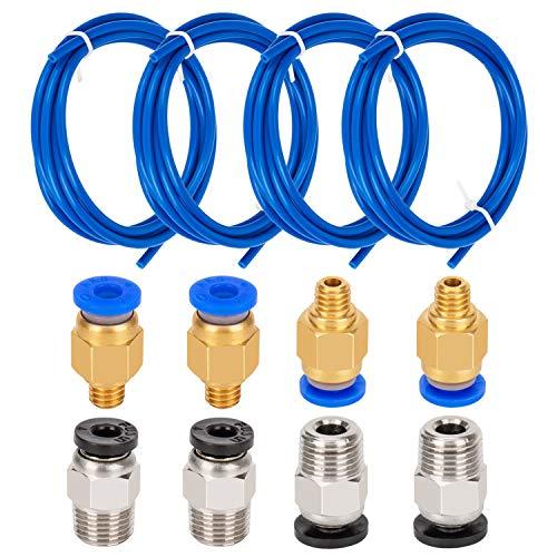 LUTER 4 Stück PTFE Schlauch Teflonschlauch Blau (1.5 M) mit 4 Stück PC4-M6 Schnellkupplung und 4 Stück PC4-M10 Gerade Pneumatik Fitting für 3D Drucker 1.75mm Filament