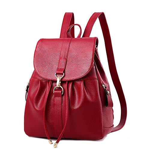 Damen Rucksack Kleiner Rucksack Schwarz Mini Backpack lederrucksack Schulrucksack Daypack Tasche Schulranzen, rot