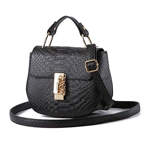 LDMB Damen-handtaschen Koreanische kleine frische Runde Form PU Leder Frauen Schulter Handtasche Messenger Black