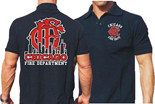 Polo da Navy, Chicago Fire Department Skyline con emblema altem, blu navy, L
