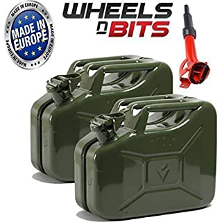 Wheels N Bits 2 x METAL POWER COATED INSIDE AN OUT JERRY CAN 10L LITRE CAN WITH A SPOUT