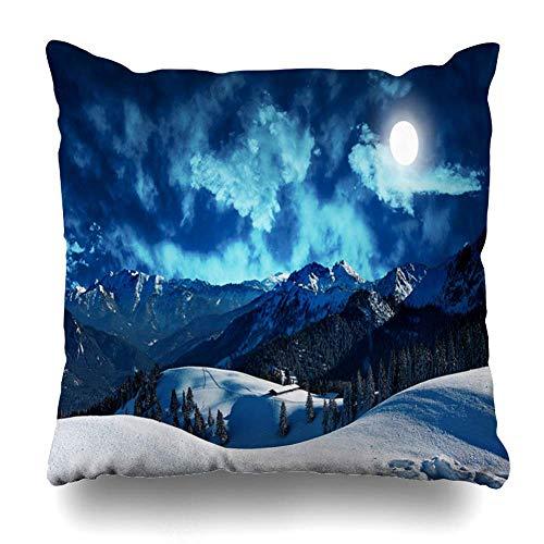 Dekorative Kissenbezug Tanne Blue Forest Mystic Winter Mountains Vollmond Märchen Natur Dark Snow Scary Cabin Abend 18ĄÁ18 Zoll Platz Kissenbezug (Kabine, Polster In Stoff)