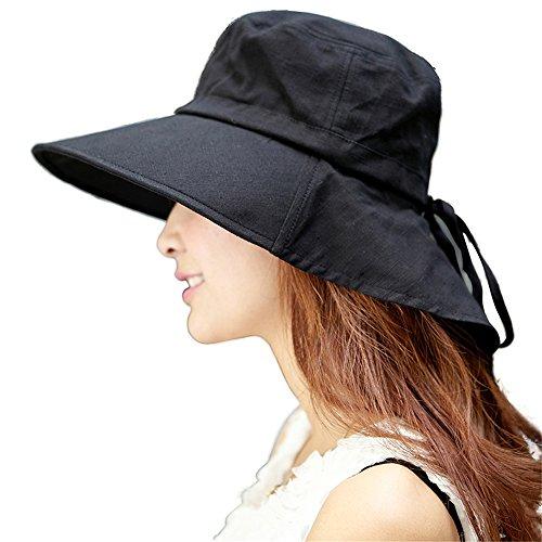 b185d3f619cb Siggi Femme Capeline Pliable Chapeau de Soleil Réglable Coton Large Bord  Visière
