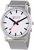 Mondaine Men's A6383035016SBM Simply Elegant-Li Quartz Watch with White Dial Analogue Display and Silver Stainless Steel Bracelet