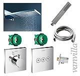 vanvilla Dusch-Set Unterputz Armatur Hansgrohe ShowerSelect Thermostat Regenduschkopf 54x22 cm poliert mit Schwall SET HG04