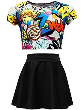 A2Z 4Kids® Kids Girls Comic graffiti Bang stampa Legging skater gonna MIDI Dress crop top età 7–13anni
