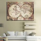 Wsxwga Mappa del Mondo Antica Mappa Europa America Terra Paese Mappa Italia Paese Mappa Moderna Casa Decorazione della Parete Tela Immagine Arte HD Stampa Pittura 60 * 90cm