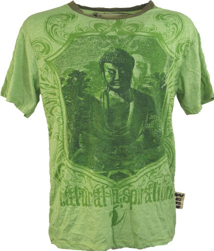 Guru-Shop Weed T-Shirt Buddha, Herren, Grün, Baumwolle, Size:L, `Sure` T-Shirts Alternative Bekleidung (Buddha Grünen T-shirt)
