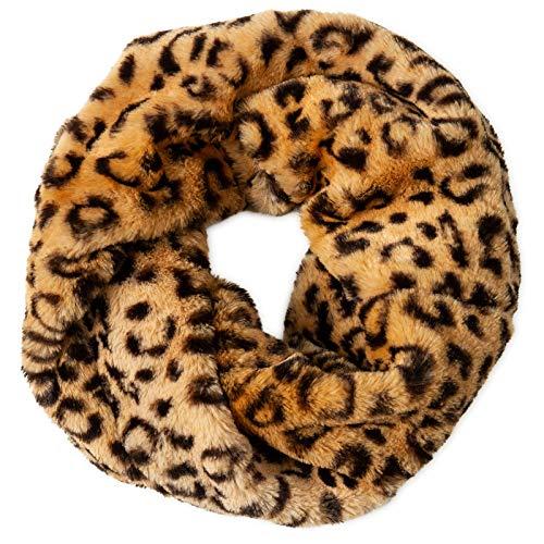 CASPAR SC480 warmer eleganter Damen Winter Fell Loop Schal, Größe:One Size, Farbe:leopard muster