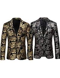 2c1d9b3da1f Yomis Men's Luxury Dress Suit Notched Lapel Slim Fit Blazer Casual Tuxedo  Jacket