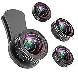 iPhone Kamera Objektiv, 235 ° Fisheye Objektiv + 15 x Makro-Objektiv, 0,4 X Weitwinkel-Objektiv + 12 x Macro Objektiv, Smartphones Kamera Kit für iPhone X, 8 7 6 6S Plus, Samsung