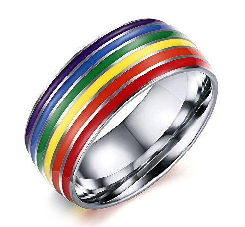 Vnox Homosexuell Lesben LGBT Edelstahl Regenbogen Flagge Emaille Stolz Schmuck Hochzeit Engagement Versprechen Band Ring Topaz Herzen Versprechen Ring