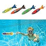 Upper 4 Pcs Juguete Torpedo en Piscina Juguetes para Niños Juguete de Buceo de Natación Bajo el Agua para Fiestas en Piscina de Verano