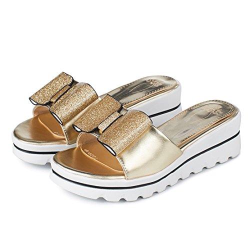 AIYOUMEI Damen Offene Plateau Keilabsatz pantoletten Sandalen mit Schleife Bequem Sommer Schuhe Gold
